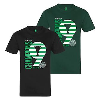 Celtic FC officiella Champions 9 i rad Mens Kids T-shirt Fotboll Gift