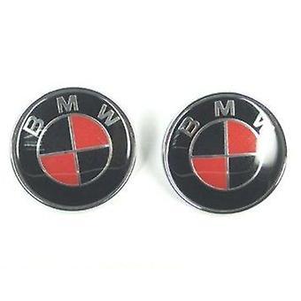 Red/Black BMW Hood Bonnet Emblem Badge 82mm