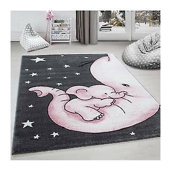Petit tapis d'enfant Chambre d'enfant Chambre bébé Éléphants Maman Gris Rose Meliert