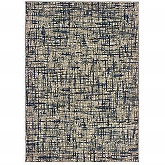 2'x3' Grau und Navy Abstrakter Scatter Teppich