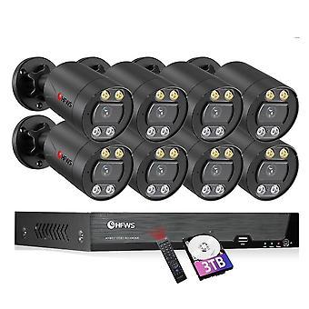 sikkerhet kamera system poe 8mp video overvåking sett cctv