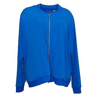 IMAN Global Chic Women's Reversible Stretch Knit Bomber Jacket Blue 741400