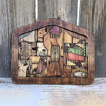 Mekaaniset palapelit syntymä palapeli puu poltettu design puinen jeesus pulma peli lelu set