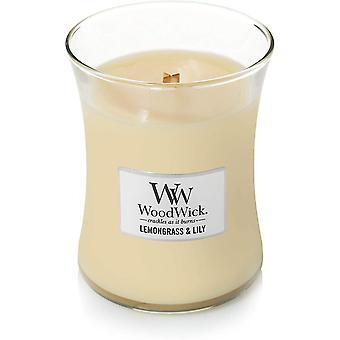Candles medium hourglass scented candle   lemongrass lily   with crackling wick   burn time: up to 60