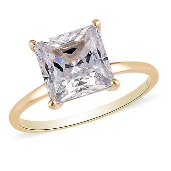 J Francis 9K Yellow Gold Solitaire Ring Made with Swarovski® Zirconia 4.75 Ct.