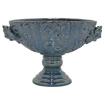 Plutus Brands Ceramic Footed Bowl in Blue Porcelain