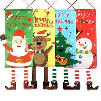 Mimigo 4 Pack Frohe Weihnachten Fenster Schild Banner, Weihnachten Stoff Flagge Tür Veranda Dekor Lieferungen Hängendes Ornament Santa Claus Banner Flagge Für Indoor Outd