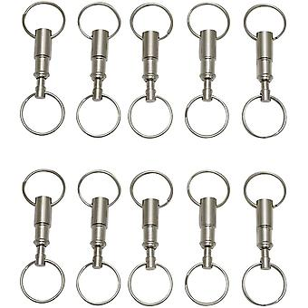 10pcs Staccabile Pull Apart Portachiavi Heavy Duty Dual Key Ring Snap Lock Holder