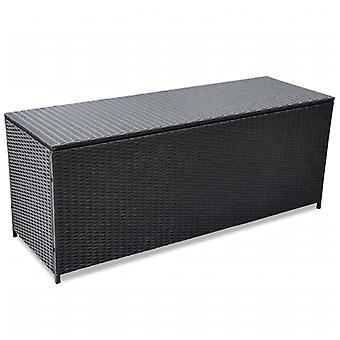 Chunhelife Garten Aufbewahrungsbox Schwarz 150x50x60 Cm Poly Rattan