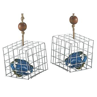 Blue Crab in Fishing Trap Christmas Holiday Ornaments Set of 2