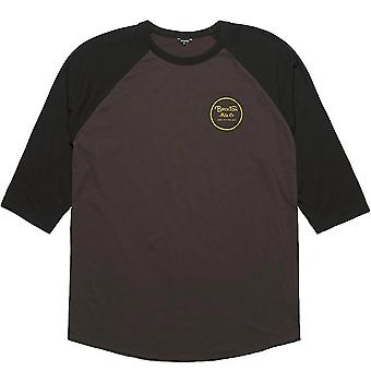 Brixton Wheeler 3/4 hiha Baseball t-paita musta musta