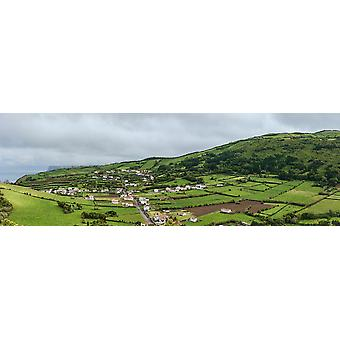 Aerial view of houses in a village Faial Island Azores Portugal Poster Print by Panoramic Images (36 x 12)