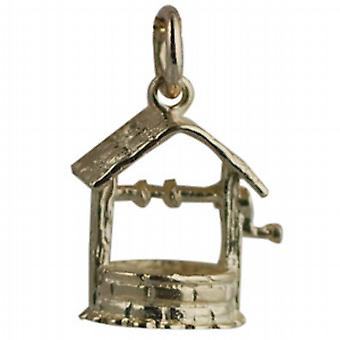 9ct Gold 15x13mm Wishing Well Pendant or Charm