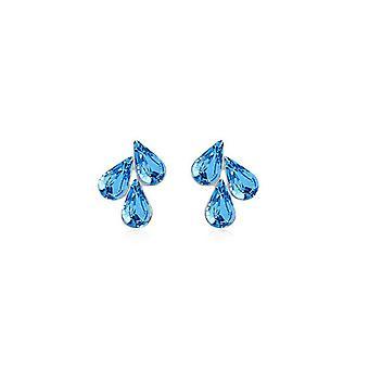 Light Blue Womens Pendant Stud Earrings Flower Leaf Waterdrop