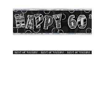 Bannière anniversaire Glitz noir & Silver 60e anniversaire prisme