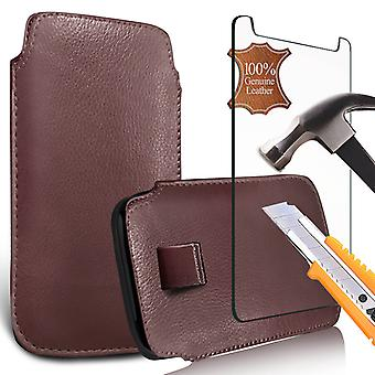 """For Huawei P20 Pro (6.1"""") - Genuine Leather Pull Tab Pouch Skin Case Cover with Tempered Glass (Brown) by i-Tronixs"""