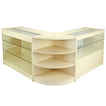 Retail Counter Maple Shop Display Storage Cabinets Showcase Shelves Jupiter