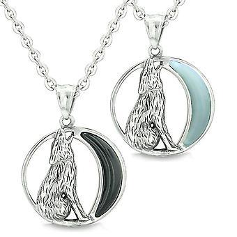 Amuletter elsker beste venner eller angi ulende ulv ville Moon krefter Onyx Opalite halskjeder