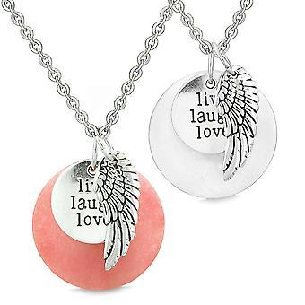 Beschermengel Wing Live Laugh Love inspirerende amuletten paren instellen roze witte Quartz kettingen