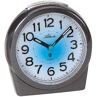 Atlanta 1948/4 alarm clock quartz anthracite grey quietly without ticking with light Snooze
