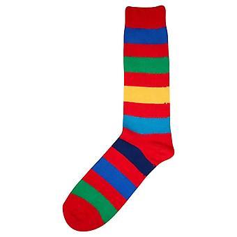 Bassin and Brown Multi Stripe Socks - Red
