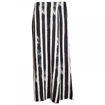 Latte Full Length Striped Skirt With Knee Slit