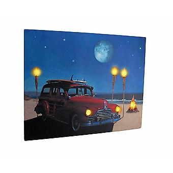 Vintage Woody Car On The Beach LED Lighted Canvas Wall Hanging