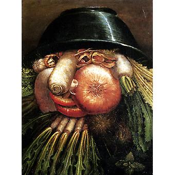 Vegetables in a Bowl or The, Giuseppe Arcimboldo, 50x40cm