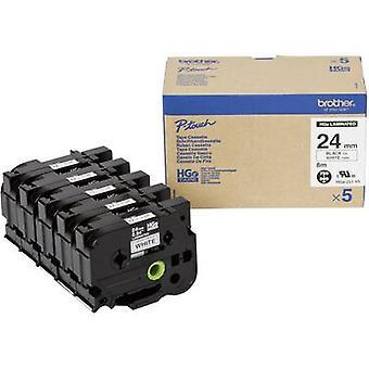 Brother HGe-251V5 Labelling tape 5-piece set Tape colour: White Font colour: Black 24 mm 8 m