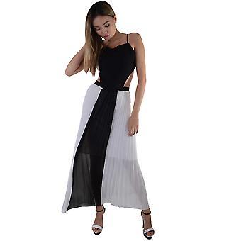 Lovemystyle wit en zwart geplooid Maxi jurk