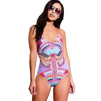 LMS Printed Swimsuit With Plunge Cross Back And Lace Up Detail
