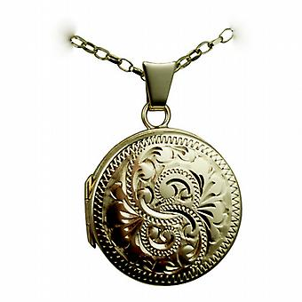 9ct Gold 20mm round flat hand engraved Locket with a belcher Chain 24 inches
