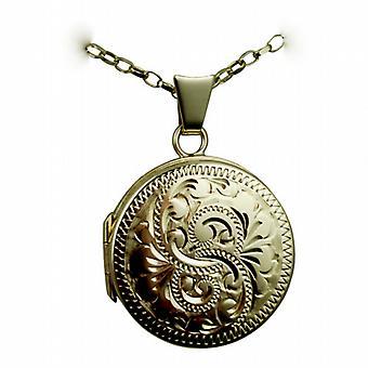 9ct aur 20mm rotund plat mână gravate medalionul cu un lanț de Belcher 24 inci