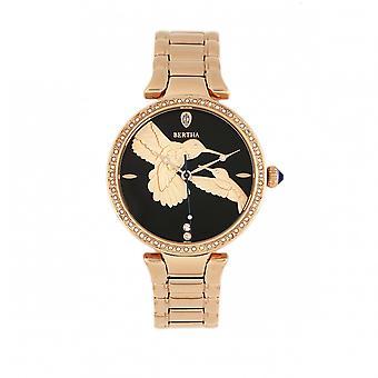 Bertha Nora armband horloge-zwart/Rose goud