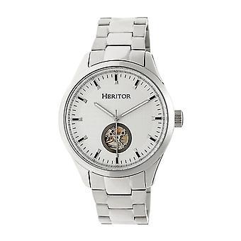 Heritor Automatic Crew Semi-Skeleton Bracelet Watch - Silver