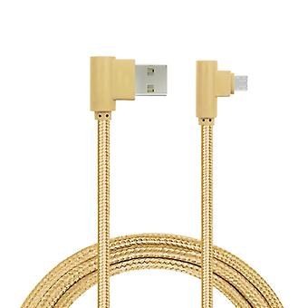 Ladekabel, abgewinkelt, Micro-USB Gold