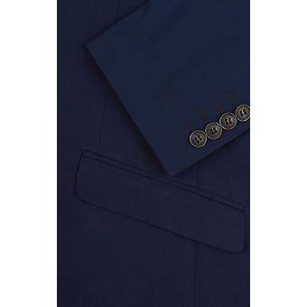 Dobell Mens Dark Blue Suit Jacket Slim Fit Notch Lapel
