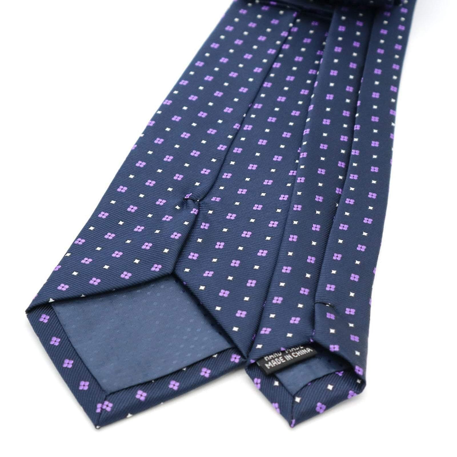 Navy blue & purple ditsy floral tie & pocket square set