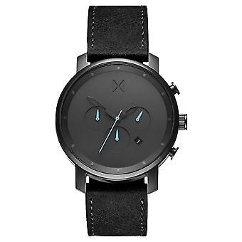 MVMT Chrono Gunmetal noir montre montre bracelet cuir MC01-GUBL