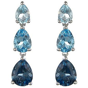Mark Milton Topaz Drop Earrings - Blue/Silver