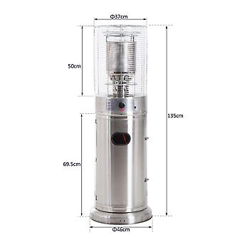 Outsunny Stainless Steel Freestanding Patio Heater with Wheels Gas Warmer Garden Efficient Safe - Silver