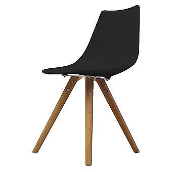 Fusion Living Iconic Black Plastic daning Chair con gambe in legno chiaro