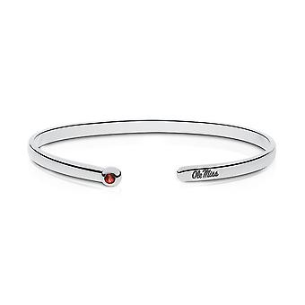 University Of Mississippi Engraved Sterling Silver Ruby Cuff Bracelet