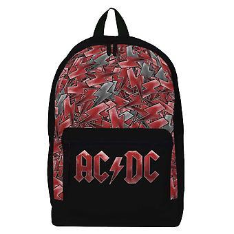 AC / DC حقيبة الظهر الفرقة شعار البرق في جميع أنحاء الطباعة الجديدة الرسمية السوداء