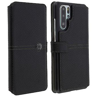Huawei P30 Pro Flip Case Card Holder Textured Effect Façonnable Black