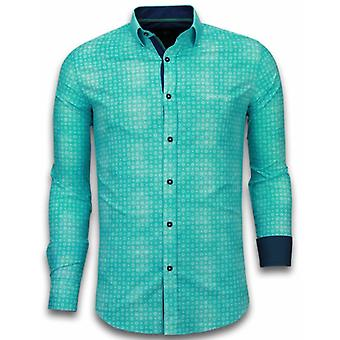 E Shirts - Slim Fit - Flower Icon Pattern - Turquoise
