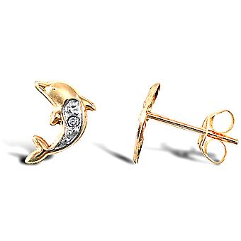 Jewelco London Ladies 9ct Yellow Gold White Round Brilliant Cubic Zirconia Solitaire Dolphin Stud Earrings