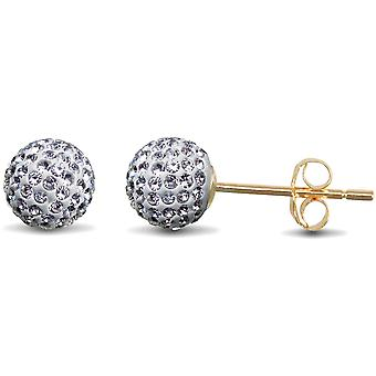 Jewelco London Ladies 9ct Yellow Gold White Round Crystal Disco Ball Stud Earrings, 6mm