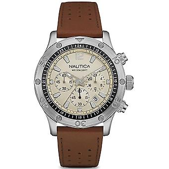 nautica- nst 21 Japanese Quartz Analog Man Watch with NAD16545G Cowskin Bracelet