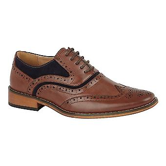 Goor Childrens/Boys Leather 5 Eye Wing Capped Brogue Oxford Shoe